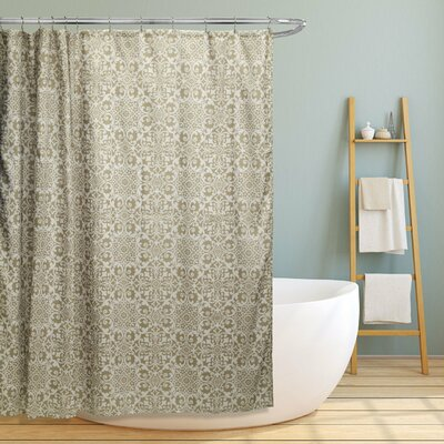 Rey Floral Scroll Geometric Shower Curtain