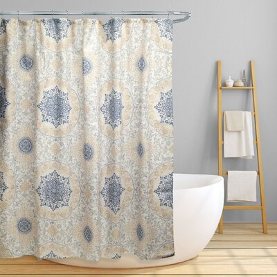 Dishon Floral Scroll Medallion Shower Curtain