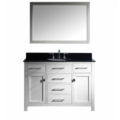 Templeton 48 Single Bathroom Vanity Set with Black Galaxy Top and Mirror Base Finish: White
