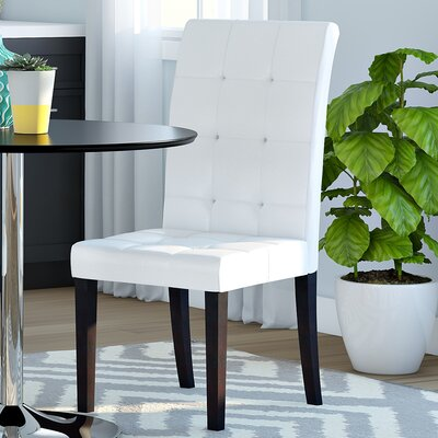 Hinton Charterhouse Genuine Leather Upholstered Dining Chair Upholstery: White