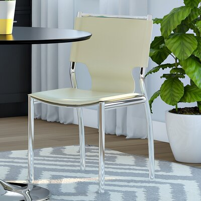 Serpens Genuine Leather Upholstered Dining Chair Finish: Ivory