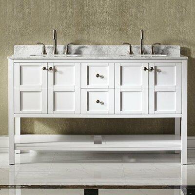 Peabody 60 Double Bathroom Vanity Set Base Finish: White