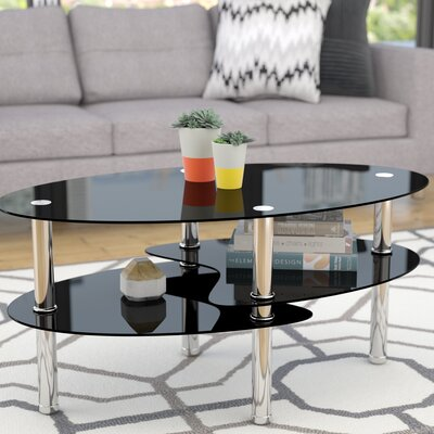 Renato Coffee Table with Magazine Rack Glass: Black