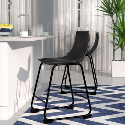 Mary-Kate 28 Bar Stool Leg Finish: Black, Upholstery: Black