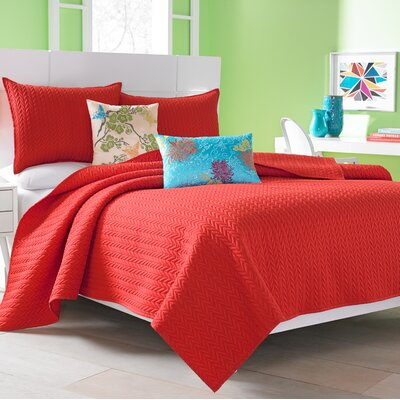 Brott Coverlet Size: King, Color: Red