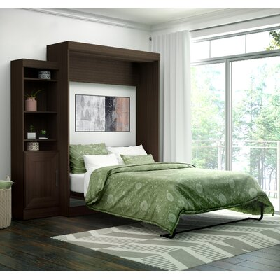 Beecroft Murphy Bed With Bookcase Upholstery: Queen, Upholstery Color: Dark Chocolate