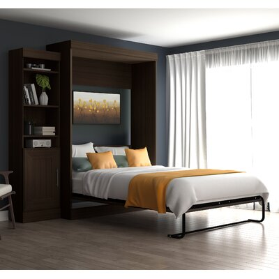 Beecroft Murphy Bed With Bookcase Upholstery Color: Dark Chocolate, Upholstery: Full