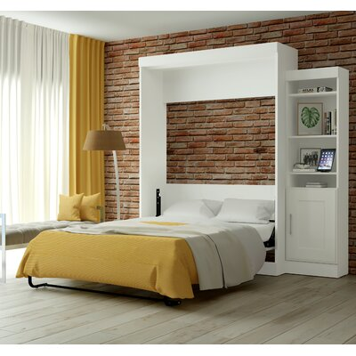 Beecroft Murphy Bed With Bookcase Upholstery: Queen, Upholstery Color: White