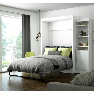 Beecroft Murphy Bed With Bookcase Size: Full, Headboard Color: White