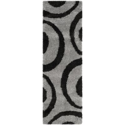 Barbara  Gray/Black Area Rug Rug Size: Runner 23 x 7
