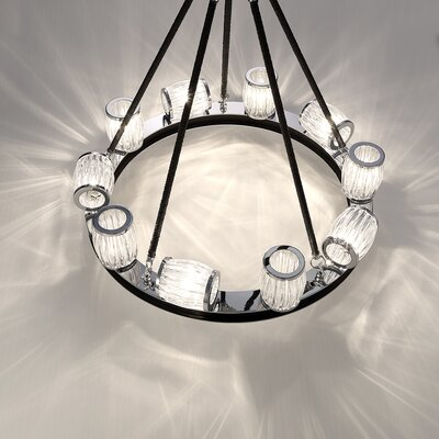 Bronstein 10-Light Barrel Glass Candle-Style Chandelier