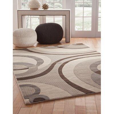 Garrett Grey/Ivory Area Rug Rug Size: 53 x 76