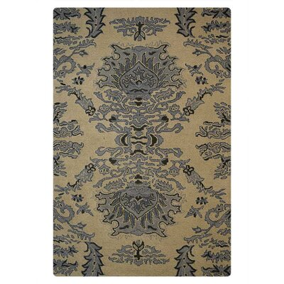 Andrew Floral Hand-Tufted Wool Beige/Blue Area Rug Rug Size: 5 x 8
