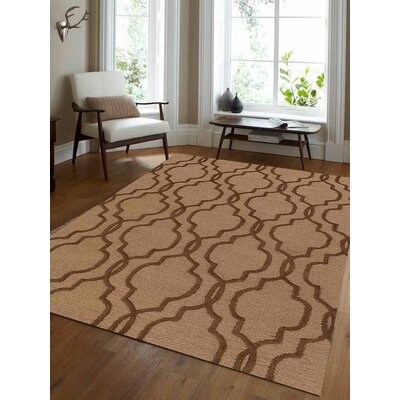 Gould Geometric Hand Tufted Wool Light Gold/Brown Area Rug Rug Size: 5 x 8
