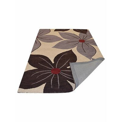 Anika Floral Hand-Tufted Wool Cream Area Rug Rug Size: 5 x 8
