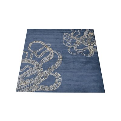 Ash Hill Contemporary Hand-Woven Wool Blue/Beige Area Rug Rug Size: Square 8