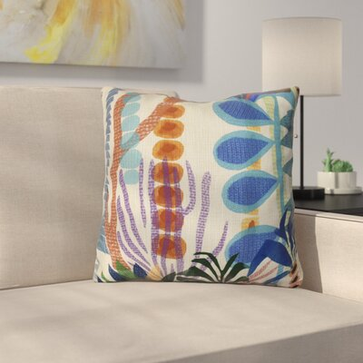 Braylen Jungle Floral Print Outdoor Throw Pillow Size: 16 H x 16 W x 3 D, Color: Gold