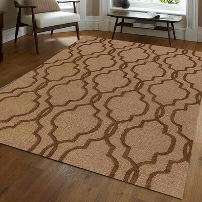 Angeles Hand-Tufted Wool Light Gold/Brown Area Rug Rug Size: 5 x 8