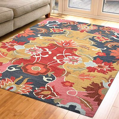 Anglin Floral Hand-Tufted Wool Gold/Black Area Rug Rug Size: 9 x 12
