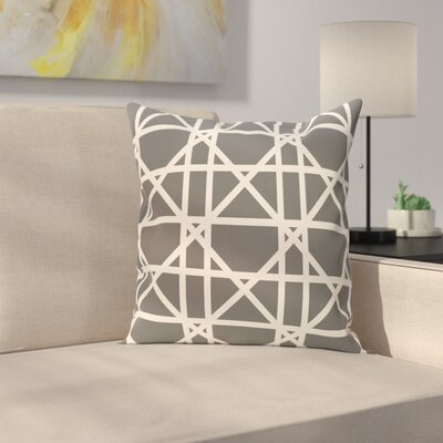 Marissa Trellis Geometric Print Outdoor Throw Pillow Size: 18 H x 18 W, Color: Gray