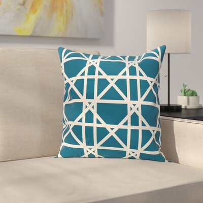 Marissa Trellis Geometric Print Outdoor Throw Pillow Size: 18 H x 18 W, Color: Teal