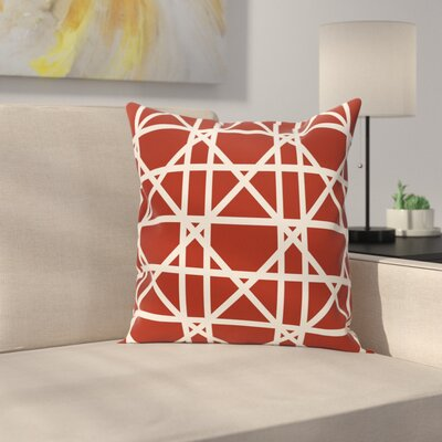 Marissa Trellis Geometric Print Outdoor Throw Pillow Size: 18 H x 18 W, Color: Orange
