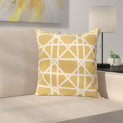 Marissa Trellis Geometric Print Outdoor Throw Pillow Size: 18 H x 18 W, Color: Gold