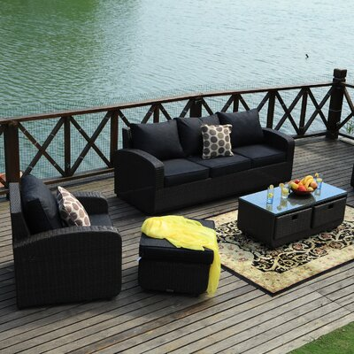 Belmonte 5 Piece Deep Seating Group with Cushion Frame Finish: Black