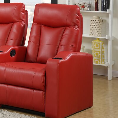 Eugenia Home Theater Right Facing Recliner Upholstery: Red