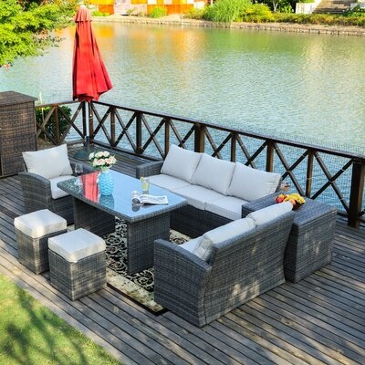 Benedetti 7 Piece Deep Seating Group with Cushion Frame Finish: Gray