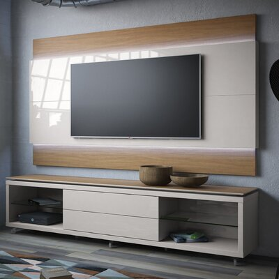 Franklin 77-95 TV Stand Color: Maple Cream / Off White, Width of TV Stand: 74.44 H x 76.77 W x 17.63 D