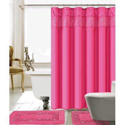 Berlin Shower Curtain Set Color: Pink/White