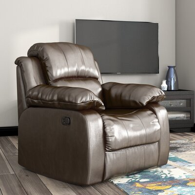 Iris Manual Glider Recliner Upholstery: Brown