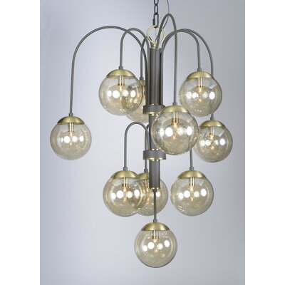 Causeway 10-Light Shaded Chandelier Finish: Textured Bronze/Satin Brass, Bulb Type: G9 Clear Xenon