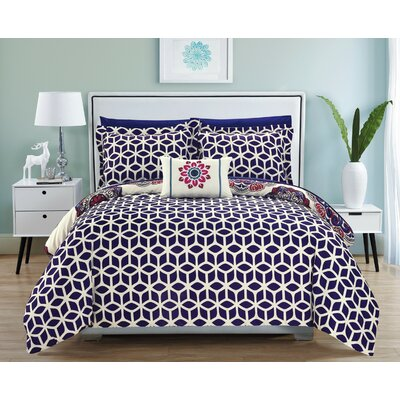 Fuller Reversible Comforter Set Size: King, Color: Navy