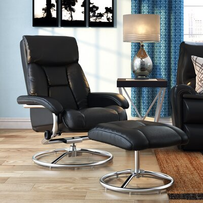 Winnols Manual Swivel Recliner with Ottoman Upholstery: Black