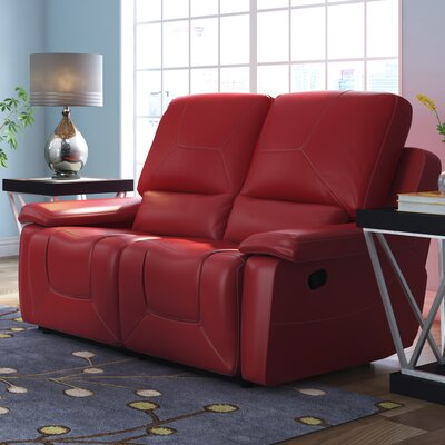 Lockheart Reclining Loveseat Upholstery: Red