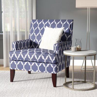 Trawick Track Armchair Upholstery: Blue/White