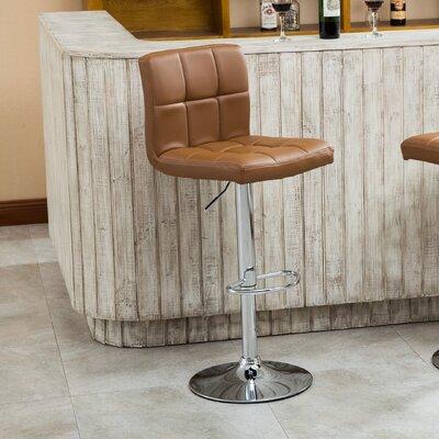 Winford Adjustable Height Swivel Bar Stool Upholstery: Camel