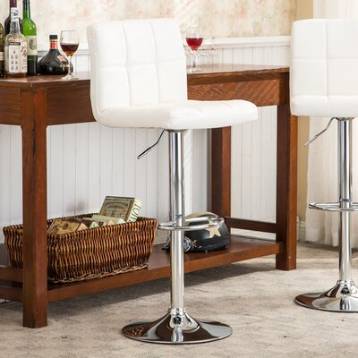 Winford Adjustable Height Swivel Bar Stool Upholstery: White