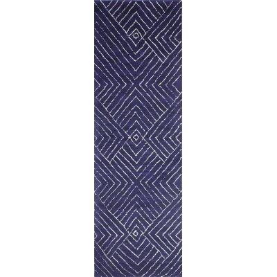 Utsey Hand-Tufted Navy Area Rug Rug Size: Runner 26 x 8