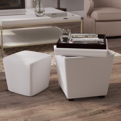Hato-Udo 2-in-1 Storage Ottoman Upholstery: White