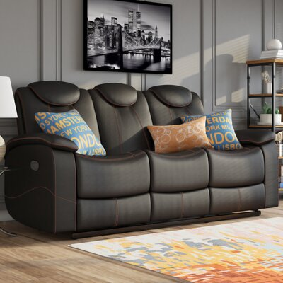 Erik Double Reclining Sofa Upholstery: Black