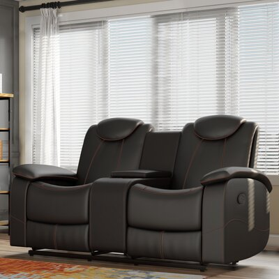 Erik Double Glider Reclining Loveseat Upholstery: Black