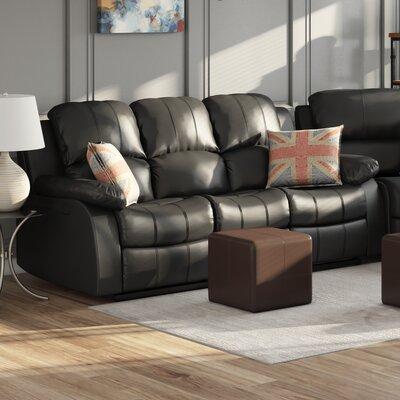 Iris Reclining Sofa Upholstery: Black