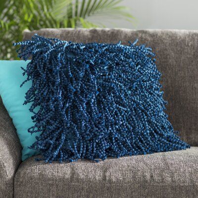 Schofields Shag Throw Pillow Color: Navy