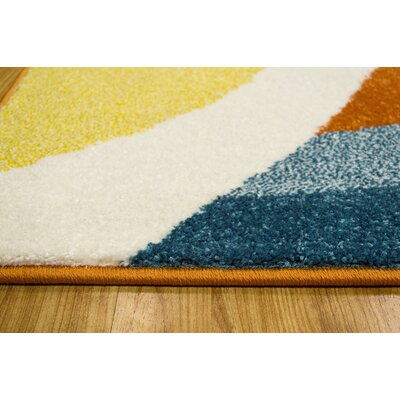 Saul Orange/Yellow/Blue Area Rug Rug Size: 8 x 10