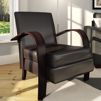 Strayer Bonded Armchair Upholstery: Brown