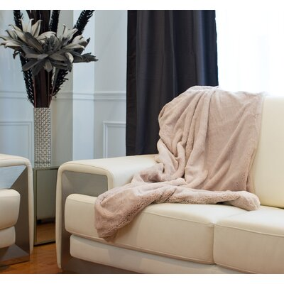 Courtnay Faux Fur Throw Color: Tan