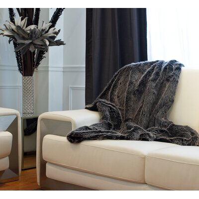 Courtnay Faux Fur Throw Color: Wolf